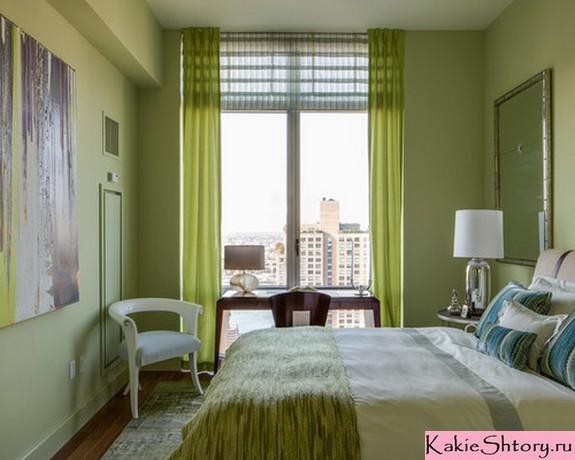 зеленые занавески под зеленые стены