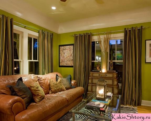 зелено-коричневые портьеры к зеленым стенам