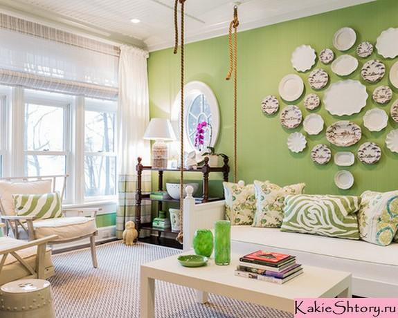 белые шторы к зеленым стенам