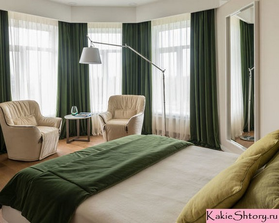 зеленые зимние шторы
