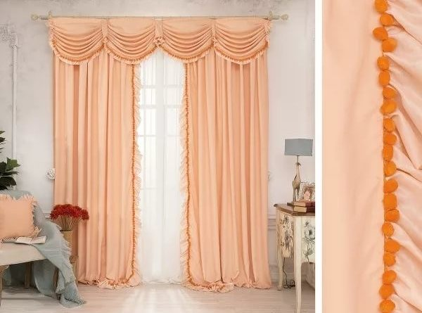 шторы персикового цвета