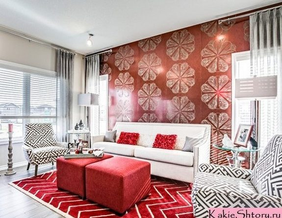 шторы под красные стены