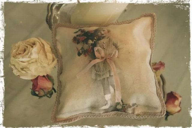 декоративная наволочка из состаренной ткани