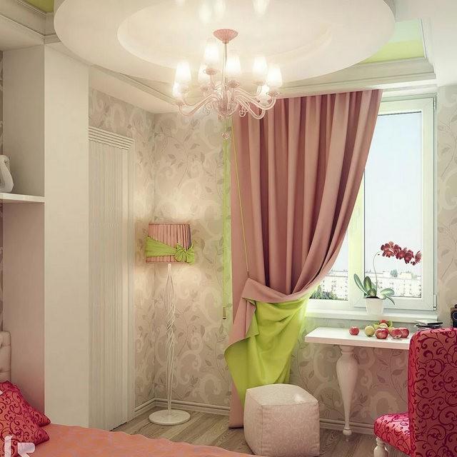 штора с отворот в детской для девочки