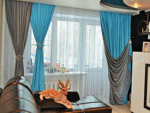 двухцветные шторы с отворотами