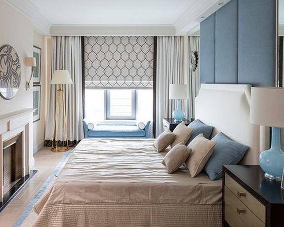 римская штора с портьерой в спальне