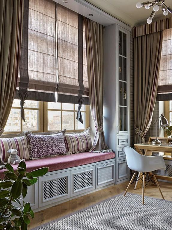 римские шторы и портьеры из одной ткани