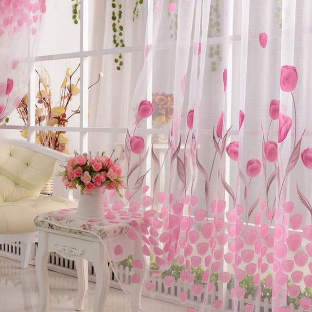 тюль розового цвета с рисунком