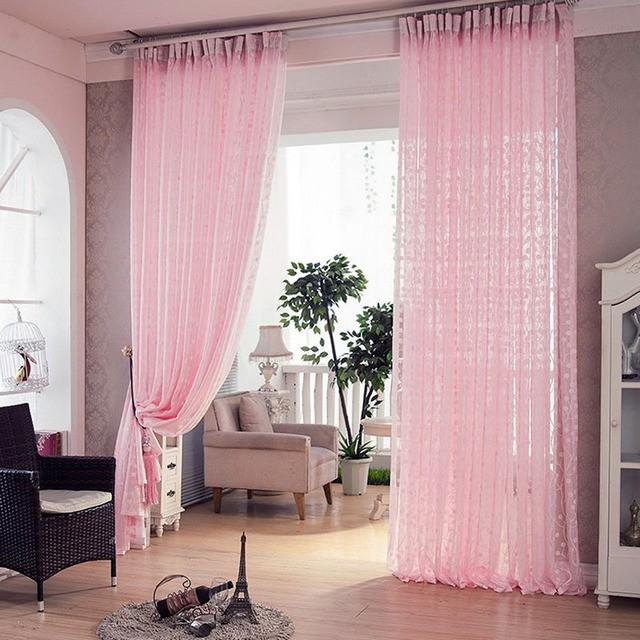 вышитый тюль розового цвета