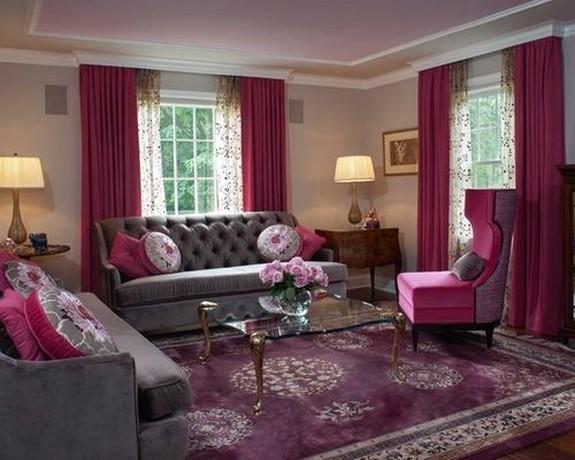 розовый тюль и малиновые шторы