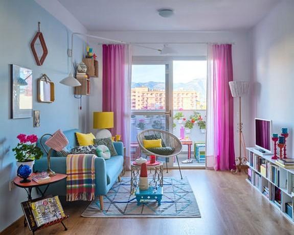 тюль розового цвета в гостиной