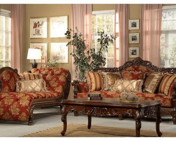розовый тюль в классической гостиной
