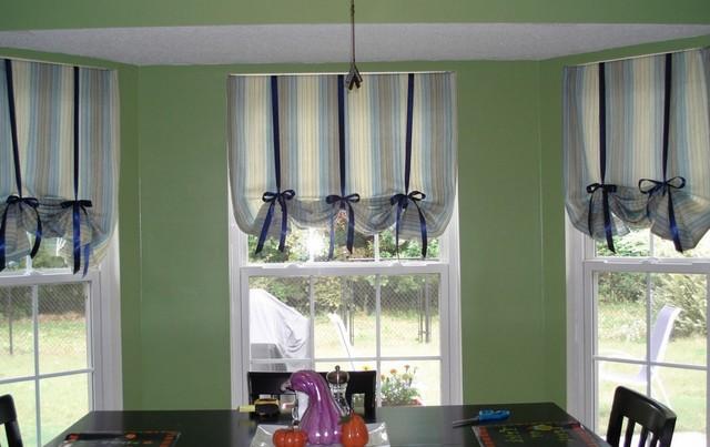 римская штора на завязках