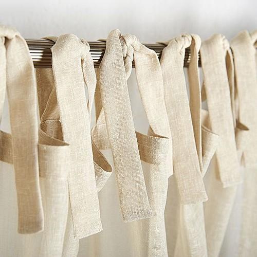 шторы из льна на завязках