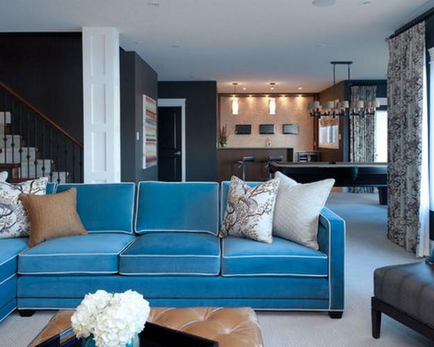 вельветовый бирюзовый диван