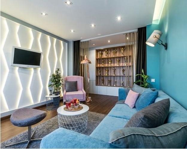 угловой диван бирюзового цвета