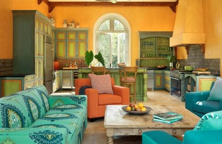 бирюзовый диван в кухне прованс