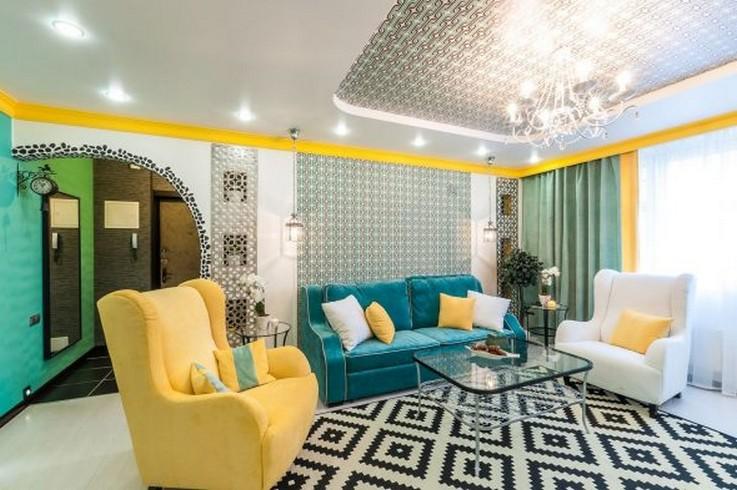 бирюзово-желтая мягкая мебель