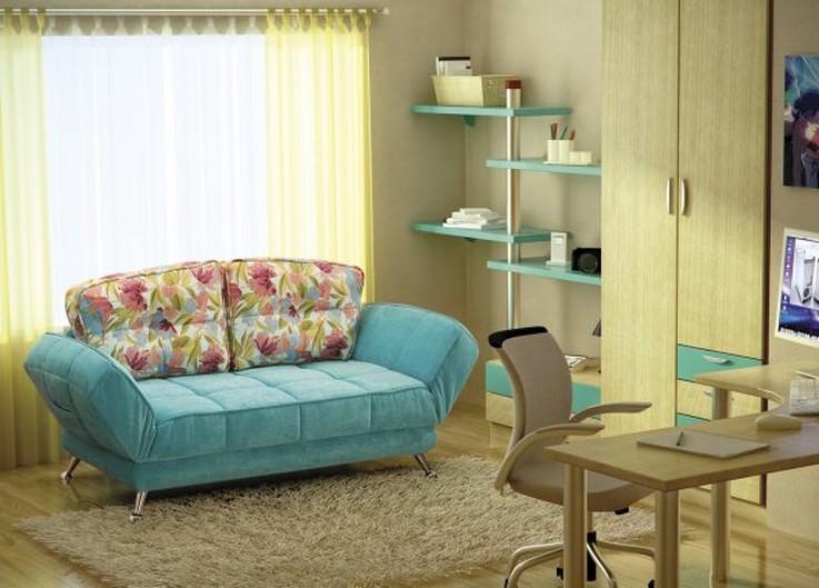 бирюзовый диван в комнате девочки