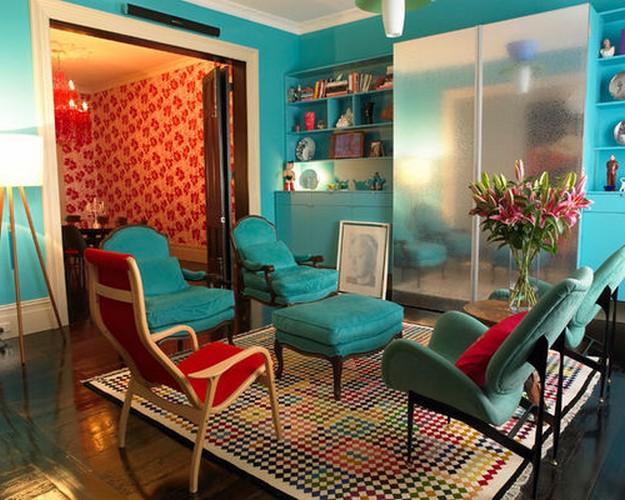бирюзовая мебель в стиле фьюжн