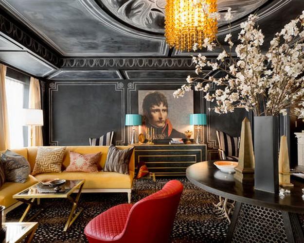 диван желтого цвета в гостиной ар деко