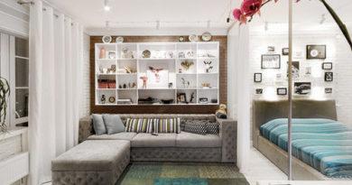 диван серого цвета в интерьере