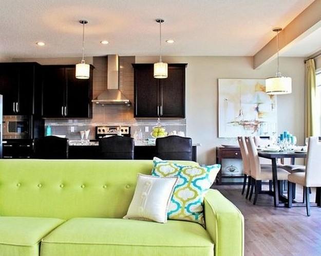 диван зеленого цвета и черная мебель