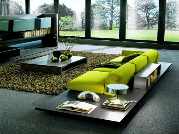 салатовый прямой диван