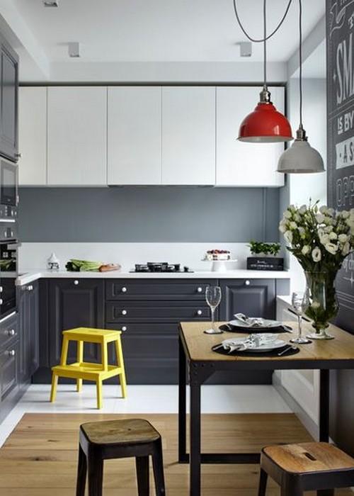 красные и желтые цвета в кухне